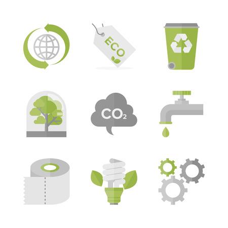 reciclable: Iconos planos conjunto de reciclaje de residuos y materiales eco, ecología y conservación de la naturaleza, la producción ecológica y la protección del medio ambiente.