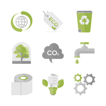 Flat icons set of waste recycling and eco material, ecology and nature conservation, green production and environment protection.  Illustration