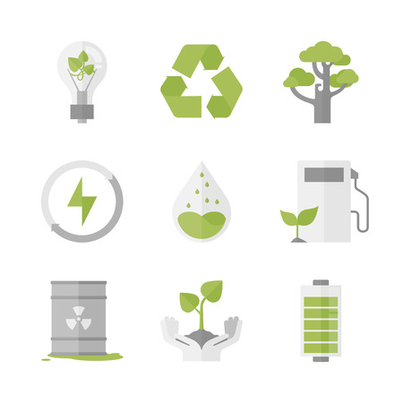 Flat icons set of nature renewable energy Çizim