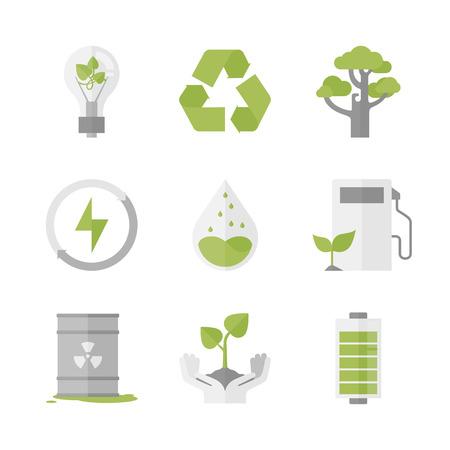 Flat pictogrammen instellen van de natuur hernieuwbare energie