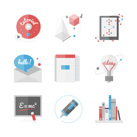 Flat icons set of high school and college education Vector