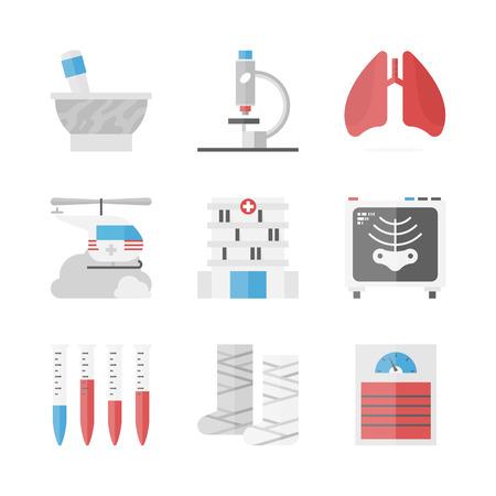 balanza de laboratorio: Iconos planos establecidos de atención de la salud y la institución hospitalaria Vectores