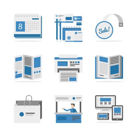 imprenta: Iconos planos conjunto de desarrollo de la campaña de marketing. Vectores