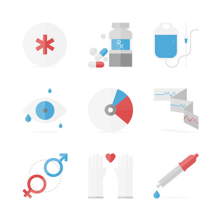 Flat icons set of healthcare and medicine service Vector