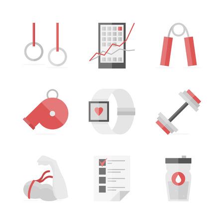 Flat icons set of strength training Ilustracja