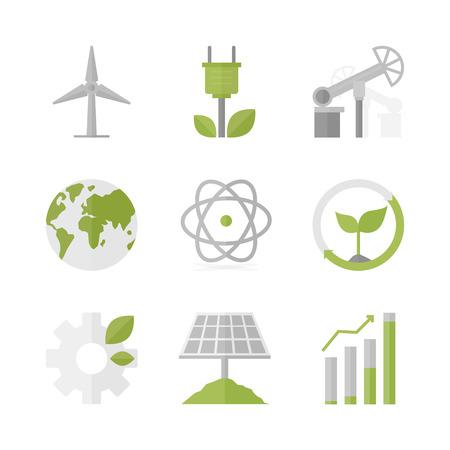 desarrollo sustentable: Iconos planos establecidos de energía natural renovable Vectores