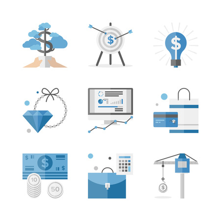 Flat icons set of financial investment for development business project, economic analysis of finance growth. Flat design style modern vector illustration concept. Isolated on white background. Vettoriali