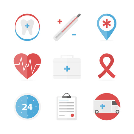 cure: Flat icons set of first aid kit and medical support service, clinical records, healthcare objects and dental care symbol