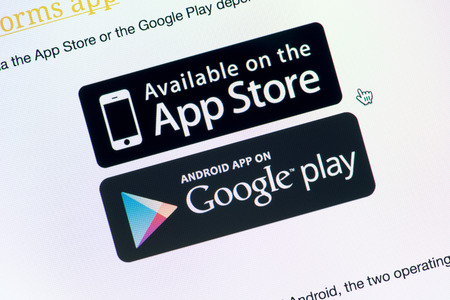 Kiev, Ukraine - September 24, 2014: Close-up shot of monitor screen with App Store and Google Play download buttons for downloading chosen application.