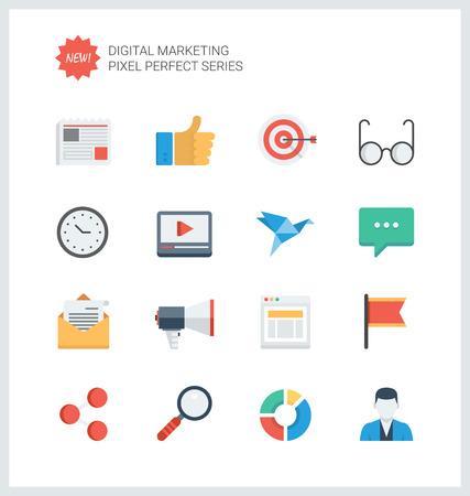 komunikace: Pixel perfektní ploché ikony set digitálního marketingu symbolu, rozvoje podnikání předměty, sociálních médií objekty a kancelářské techniky.