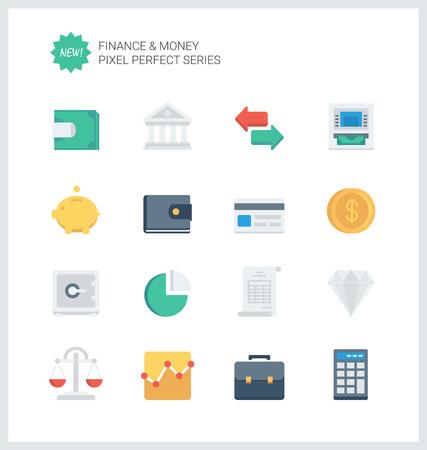 conjunto: Pixel iconos planos perfectos conjunto de objetos y elementos de finanzas bancarias, artículos financieros y el símbolo de dinero.