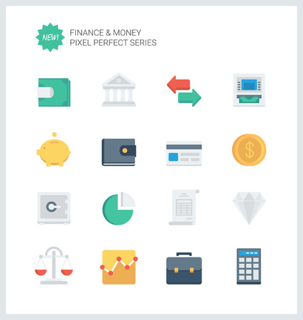 Pixel perfect flat icons set of finance objects and banking elements, financial items and money symbol.  Vector
