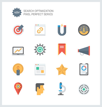Pixel perfect flat icons set of website searching engine optimization, seo analytics and data management, webpage traffic development.  Vector
