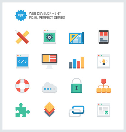 develop: Pixel perfect flat icons set of web development and website programming process, webpage coding and user interface creating.
