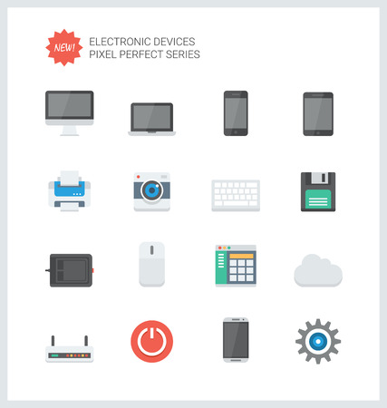 Pixel perfect flat icons set of computer technology and electronics devices, mobile phone communication and digital products.  Vector
