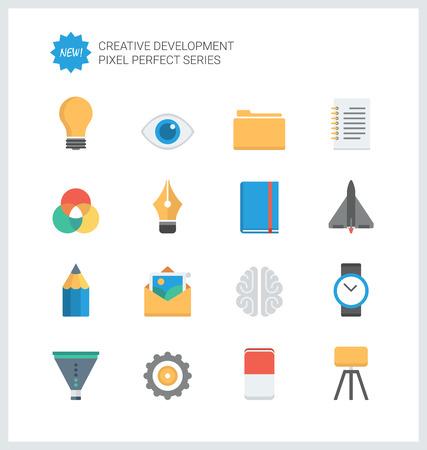 ピクセル完璧なフラット アイコンを設定する創造的なビジネス開発のプロセス、ワークフローと創造性のソリューションを近代的なオフィス。