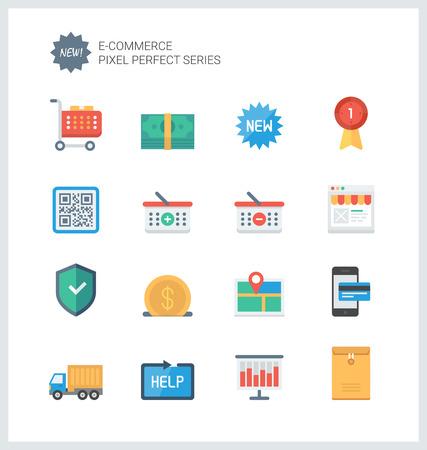 상업: 전자 상거래 상징 쇼핑, 온라인 쇼핑몰 요소 및 상업 항목, 인터넷 상점 제품의 설정 픽셀 완벽한 평면 아이콘.