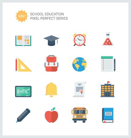 Pixel iconos planos perfectos conjunto de objetos elementales de la escuela y artículos de educación, símbolo de aprendizaje y equipos de estudiante.