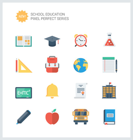 Pixel perfect flat icons set of elementary school objects and education items, learning symbol and student equipment.  Illustration