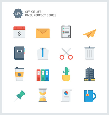 Pixel perfect flat icons set of business items, office tools, working objects and management elements.