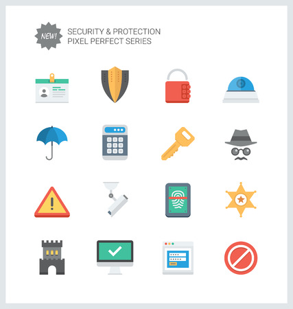 warning signs: Pixel perfect flat icons set of various security objects, information and data  protection system, safety access elements.
