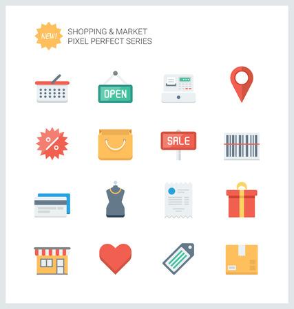 Pixel perfect vlakke pictogrammen set van winkelen symbool, winkel elementen en handel items, markt objecten en winkel producten. Stock Illustratie