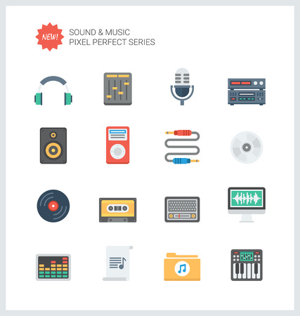 cd recorder: Pixel perfect flat icons set of sound symbols and studio equipment, music instruments,  audio and multimedia objects.