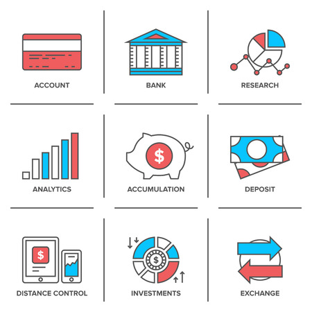 Flat line icons set of banking account, financial analytics, currency exchange, money investment and credit card deposit.
