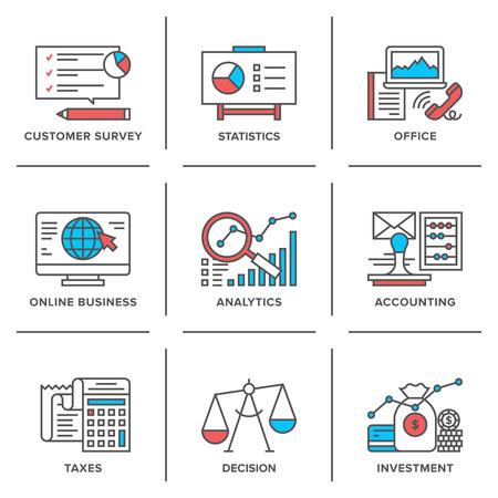 Flat line icons set of business planning process, company accounting organization, big data analytics, corporate taxes optimization.  Ilustrace