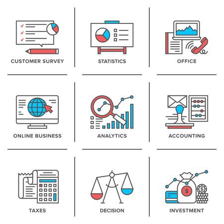 taxes: Iconos planos de l�nea configurados de proceso de planificaci�n empresarial, la empresa que representa la organizaci�n, an�lisis de datos grandes, la optimizaci�n de los impuestos corporativos.