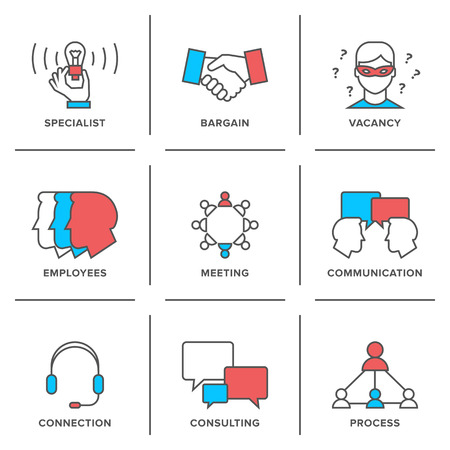 Flat line icons set of business meeting, professional occupation, company consulting, people communication and deal agreement.  Vector