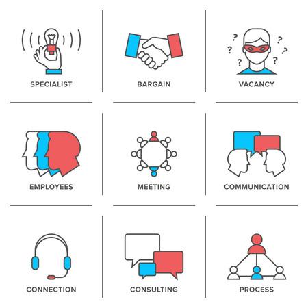 profesionistas: Iconos línea plana conjunto de reuniones de negocios, ocupación profesional, consultoría de empresa, la comunicación de personas y el acuerdo acuerdo. Vectores