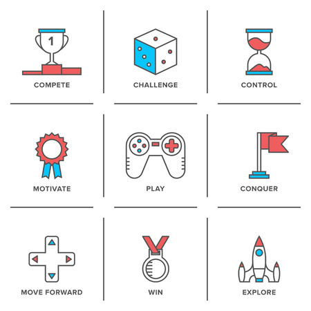 ribbon: Flat line icons set of competitive advantage solution, business gamification elements, winning strategy ideas, motivation and achievement.