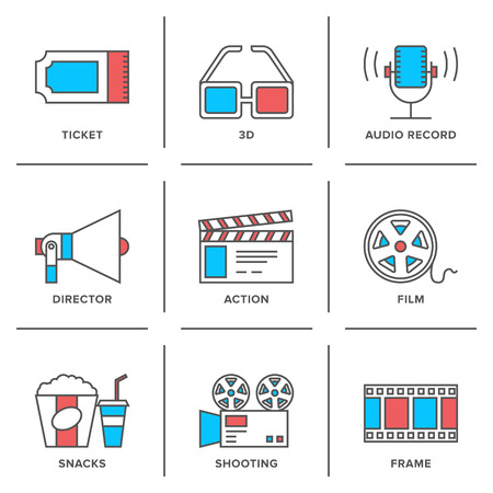 Flat line icons set of cinema shooting, movie watching, film production, leisure entertainment, 3d television and audio record.