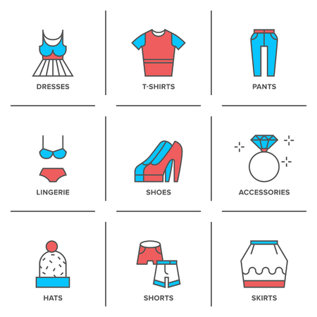 Flat line icons set of basic clothing and accessories like dresses, pants, t-shirts, lingerie, shoes, shorts, hats, skirts.  Vector