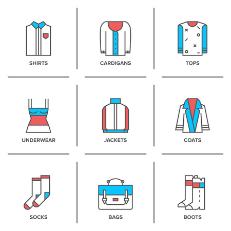 Flat line icons set of basic clothing and accessories like shirts, cardigans, tops, underwear, jackets, coats, socks, bags and footwear. Vector