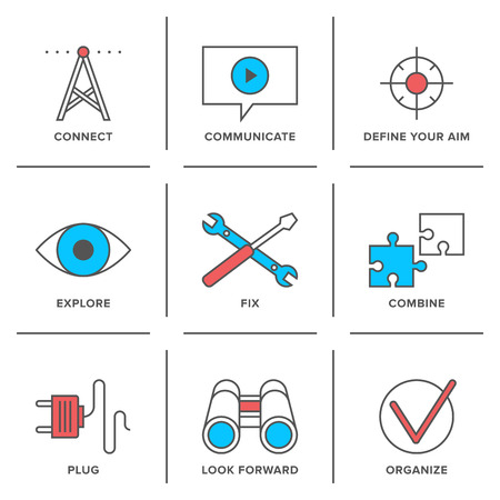 vision repair: Flat line icons set of technical service and support, video communication, plug connection, future vision and exploration elements.