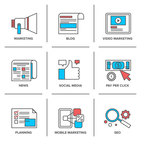 Flat line icons set of digital marketing, online advertising process, social media development, pay per click internet promotion.