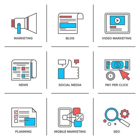 komunikacja: Ikony płaskim linii zestaw marketingu cyfrowego, reklamy online, proces rozwoju mediów społecznych, zapłacić za promocję kliknij Internetu. Ilustracja