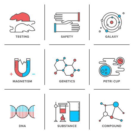 Vlakke lijn iconen set van wetenschappelijk onderzoek, genetica evolutie experiment, DNA moleculaire structuur, bescherming van het laboratorium, wetenschappelijke testen.