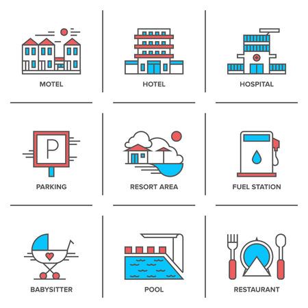 Vlakke lijn iconen set van hotel resort, motel gebouw, parkeren teken, zwembad, tankstation, restaurant eten serveren.