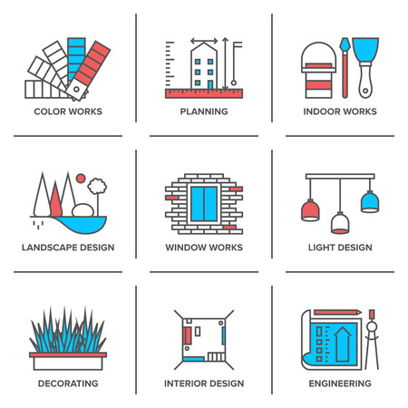 Flat line icons set of interior design work, landscape and house decoration, construction planning, engineering project. Vector