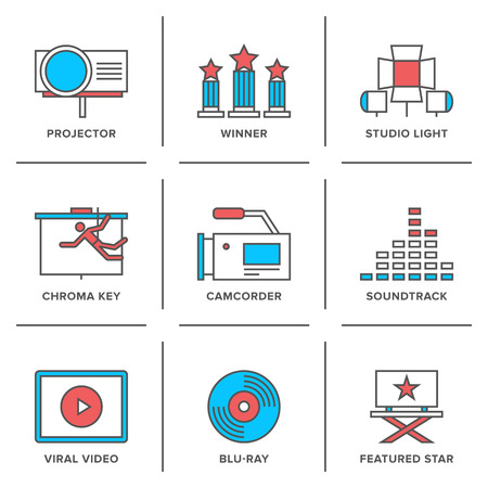 Flat line icons set of cinema shooting, movie postproduction, award winner, soundtrack writing, viral video making.  Illustration