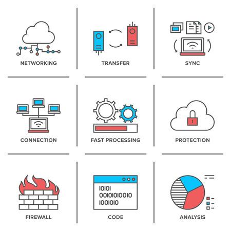 하부 구조: 플랫 라인 아이콘 클라우드 컴퓨팅 네트워크 연결, 빅 데이터 전송, 방화벽 보호, 무선 통신, 시스템 자원 분석의 집합입니다.