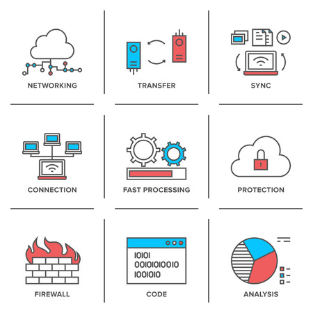 Flat line icons set of cloud computing network connection, big data transfer, firewall protection, wireless communication, system resource analysis. Иллюстрация