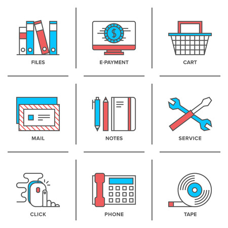Flat line icons set of office routine objects, online shopping items, business desk supplies, service tools and equipment. Vector