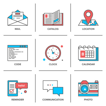 Flat line icons set of office objects, business items, working elements, desk supplies, everyday equipment. Modern trend design style vector concept. Isolated on white background.