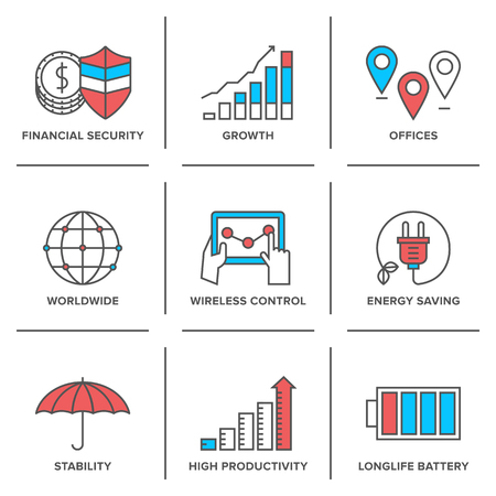 Flat line icons set financial security, high productivity, success business workflow, power and energy savings, worldwide connection. Vector
