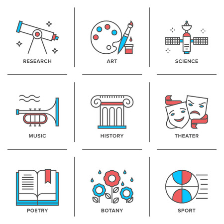 Flat line icons set of education main subjects, schooling symbol and learning elements, studying and educational objects. Vector