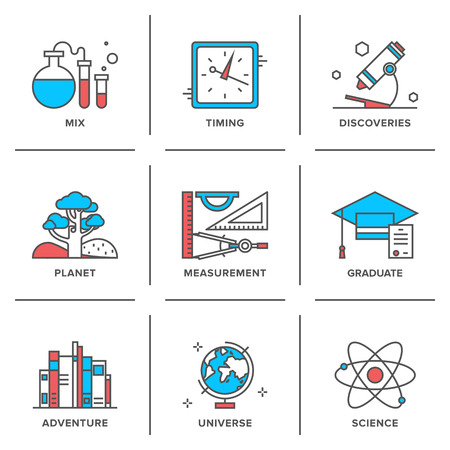 science icons: Flat line icons set of discovery new things, school measurement items, science and chemistry, planet adventures, planet geography.